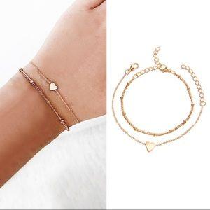 3/$30 2 Piece Heart Zinc Alloy Bracelet Set